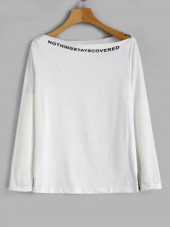 Camiseta Slogan De Manga Larga Con Cuello Alzado - Blanco Xl