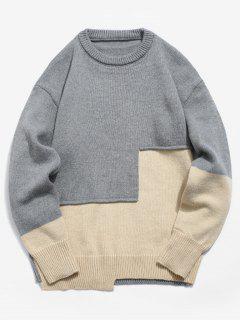 Panel Applique Pullover Sweater - Ash Gray 3xl