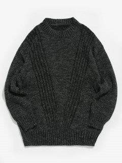 Suéter De Cuello Redondo De Color Sólido - Negro M