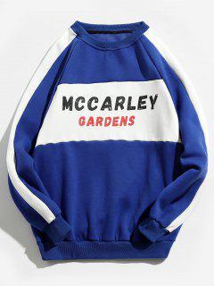 Fleece Lined Raglan Sleeves Letter Sweatshirt - Blue L