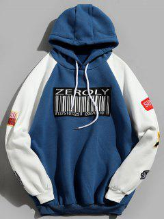 Colorblock Raglan Sleeves QR Code Applique Hoodie - Blue Xl