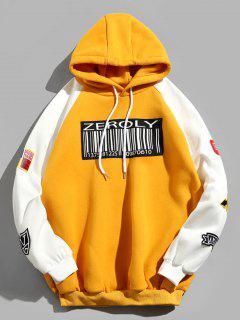 Colorblock Raglan Sleeves QR Code Applique Hoodie - Yellow Xl