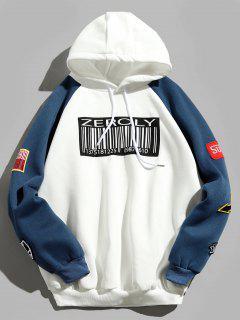 Colorblock Raglan Sleeves QR Code Applique Hoodie - White L