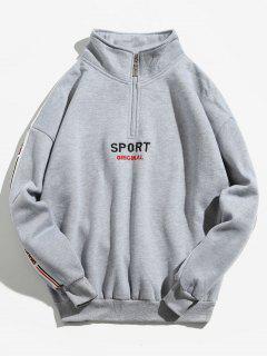 Stripe Trim Letter Half Zip Sweatshirt - Gray M