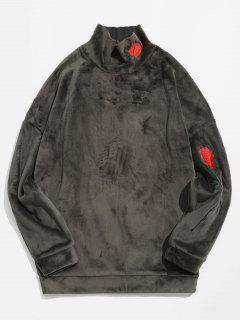 Sweat-shirt Rose Brodée En Velours - Gris 2xl