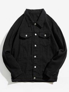 Back Skull Graphic Denim Jacket - Black L