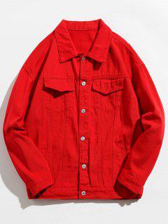 Back Skull Graphic Denim Jacket - Red M