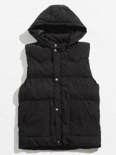 Solid Color Detachable Hat Padded Vest - Black Xl