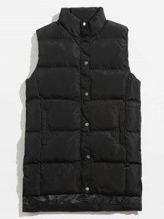 Solid Color Side Split Padded Vest - Black Xs