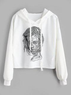 Cropped Sketch Graphic Hoodie - White L