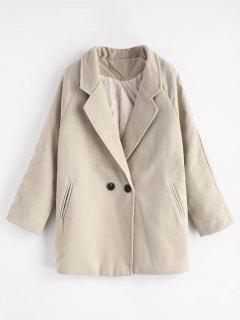 Two Button Raglan Sleeve Wool Blend Coat - Cool White 2xl