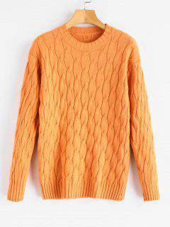 Suéter De Punto Liso De Cable De Jersey - Sandy Brown