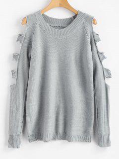 Suéter De Color Liso Recortado - Gris Claro M
