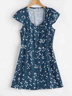 Cap Sleeves Printed Mini Dress - Greenish Blue S