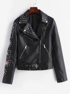 Embroidery Zip Fly Beaded PU Jacket - Black L