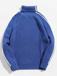Raglan Sleeve Heaps Collar Sweater - Deep Blue L