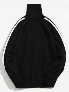 Striped Raglan Sleeve Sweater - Black L
