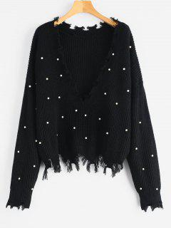 Faux Pearls Frayed V Neck Sweater - Black