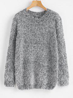 Crew Neck Plain Fluffy Sweater - Gray