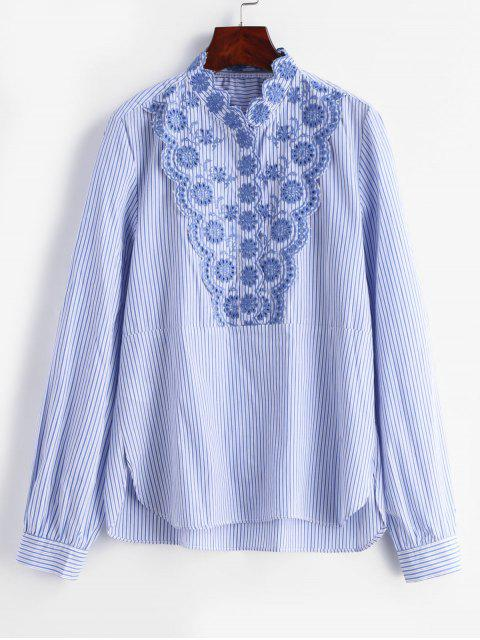 women's Striped Flower Embroidery Blouse - MULTI L Mobile