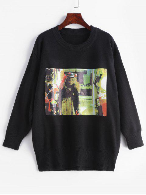 outfit Oil Painting Pattern Sweater - BLACK M Mobile