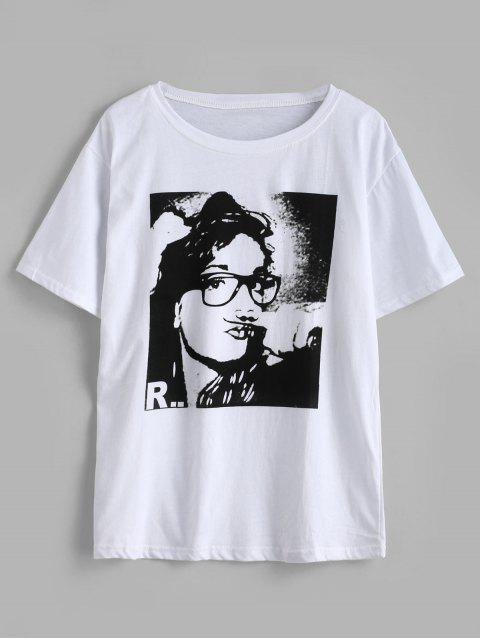 sale Short Sleeve Graphic Front Jersey Tee - WHITE ONE SIZE Mobile