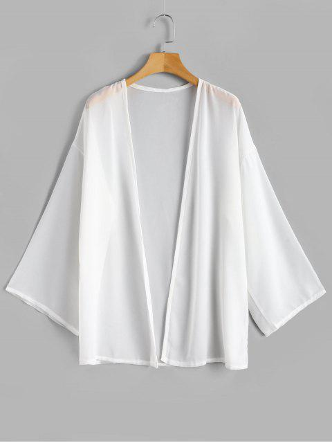 best Chiffon Flowy Open Front Top - WHITE ONE SIZE Mobile