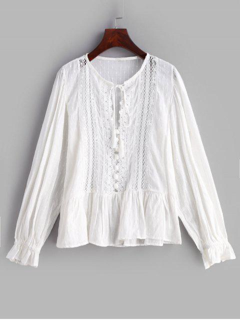 latest Lace Insert Hollow Out Blouse - WHITE L Mobile