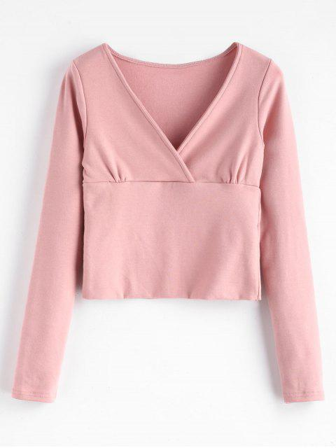 sale Brushed Jersey Cropped Long Sleeve Tee - PINK M Mobile