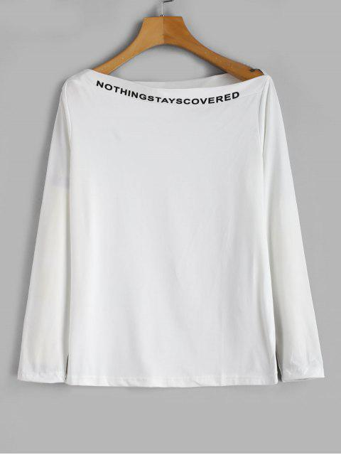 ladies Slogan Long Sleeve Slash Neck Tee - WHITE XL Mobile