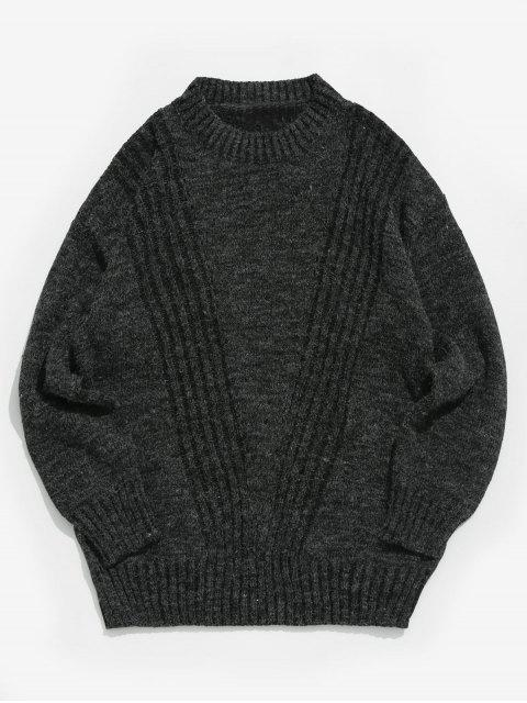 trendy Solid Color Round Collar Sweater - BLACK L Mobile