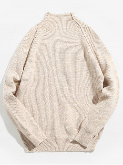 affordable Raglan Sleeve Knitted Pullover Sweater - ANTIQUE WHITE L Mobile