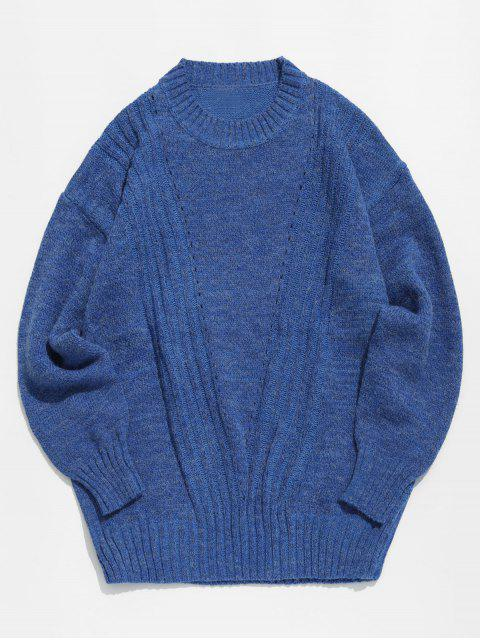 women Solid Color Round Collar Sweater - BLUE 2XL Mobile