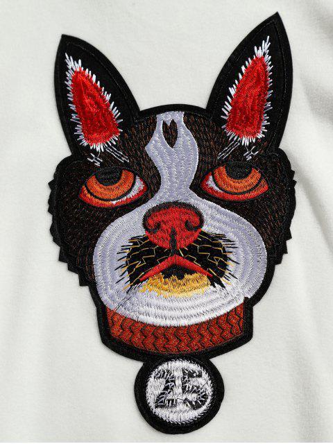 shop Kangaroo Pocket Dog Applique Fleece Hoodie - WHITE 2XL Mobile