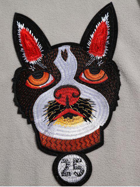 outfit Kangaroo Pocket Dog Applique Fleece Hoodie - GRAY M Mobile