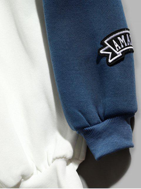 fancy Colorblock Raglan Sleeves QR Code Applique Hoodie - WHITE M Mobile
