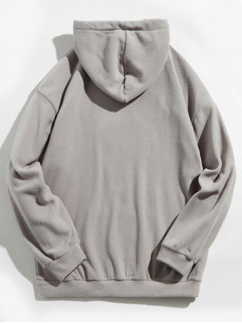 outfits Kangaroo Pocket Dog Applique Fleece Hoodie - GRAY S Mobile