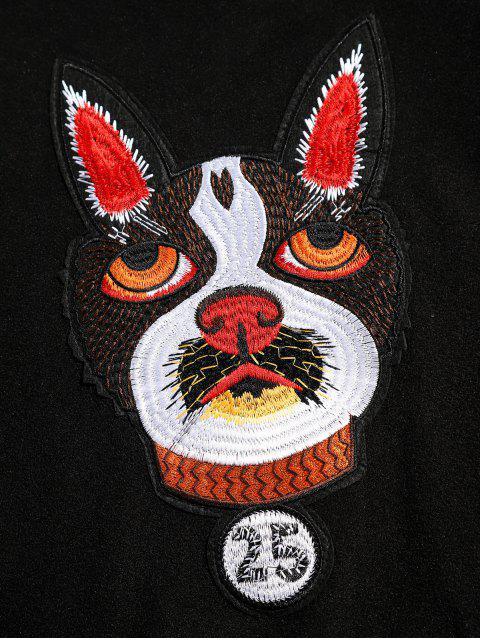 affordable Kangaroo Pocket Dog Applique Fleece Hoodie - BLACK S Mobile