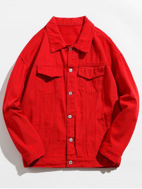 chic Back Skull Graphic Denim Jacket - RED M Mobile