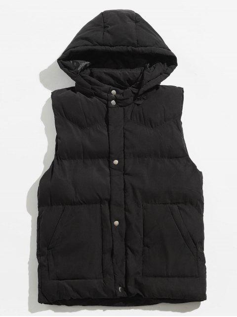 outfit Solid Color Detachable Hat Padded Vest - BLACK 2XL Mobile