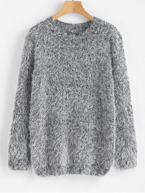 Flauschiger Pullover mit Rundhalsausschnitt - Grau Eine Größe Mobile