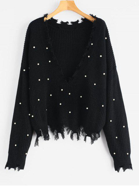 fancy Faux Pearls Frayed V Neck Sweater - BLACK ONE SIZE Mobile