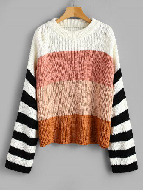 affordable Drop Shoulder Crew Neck Stripes Sweater - MULTI ONE SIZE Mobile