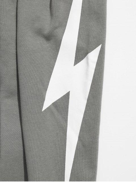women Lightning Pattern Jogger Pants - LIGHT GRAY 3XL Mobile