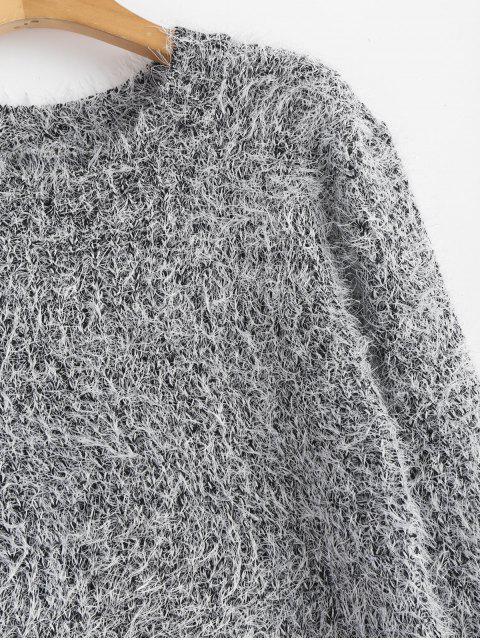 Cuello de equipo llano suéter mullido - Gris Talla única Mobile
