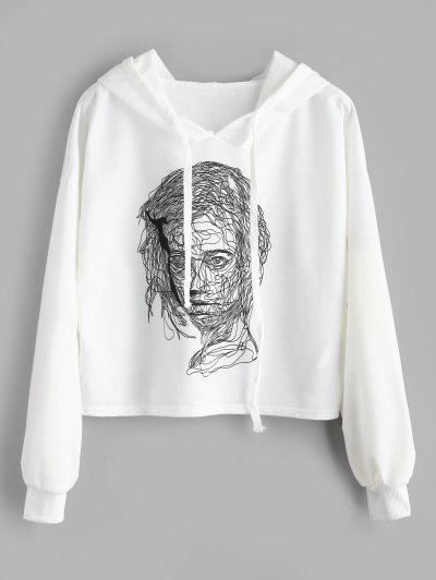 86978e1cc70 Cropped Sketch Graphic Hoodie - White L