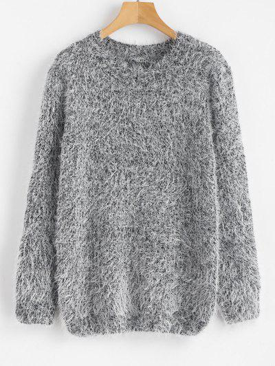 Crew Neck Plain Fluffy Sweater - Gray