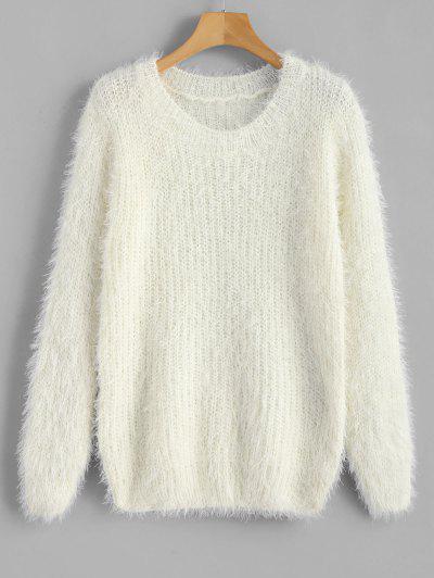 Crew Neck Plain Fluffy Sweater - White