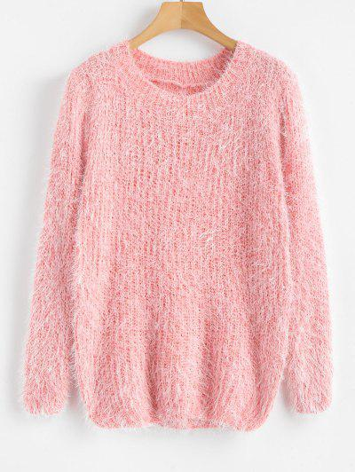 Crew Neck Plain Fluffy Sweater - Pink