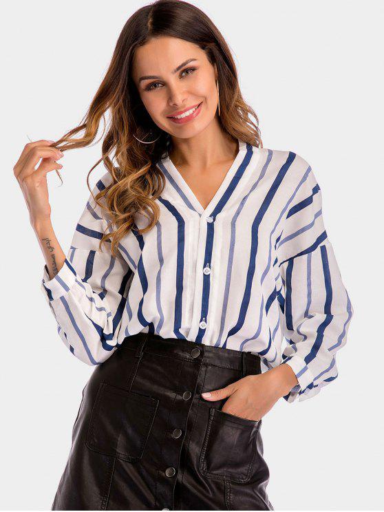 fashion Striped V Neck High Low Blouse - MULTI S
